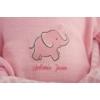 Antonio Juan hangot adó csecsemő baba, rózsaszín elefántos ruhában, cumival 37 cm-es