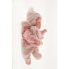Antonio Juan csecsemő baba, rószaszín csíkos ruhában, 29 cm-es