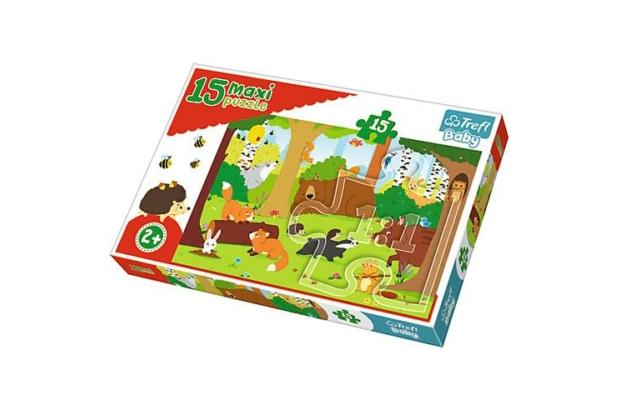 Trefl: Maxi 15 puzzle - Állatok az erdőben