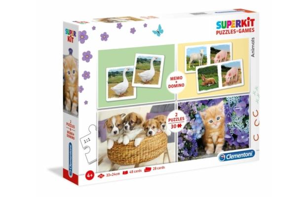 Állatok 2x30 db-os puzzle, memória és dominó játék - Clementoni