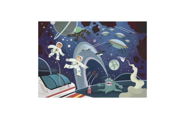 Az űr 104 db-os csillámos puzzle Clementoni