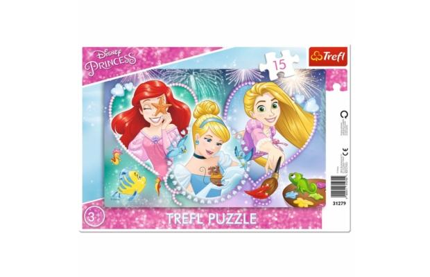 Három vidám hercegnő 15 db-os keretes puzzle - Trefl