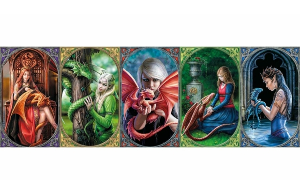 Anne Stokes Collection - Dragon Friendship 1000 db-os panoráma puzzle - Clementoni