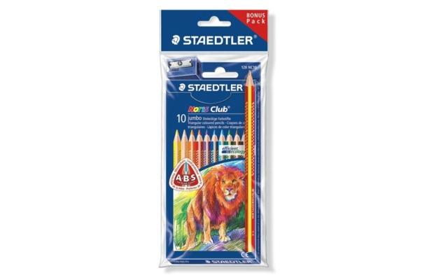 Staedtler Noris Club Jumbo háromszögletű színes ceruza, 10 db-os   ajándék ceruza és hegyező